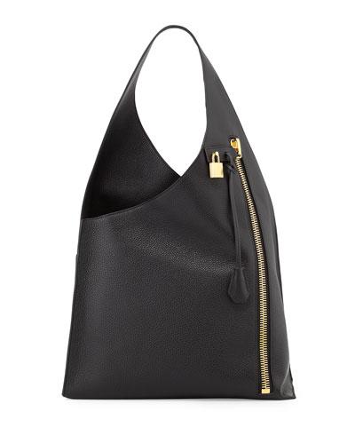 Alix Zip Hobo Bag, Black