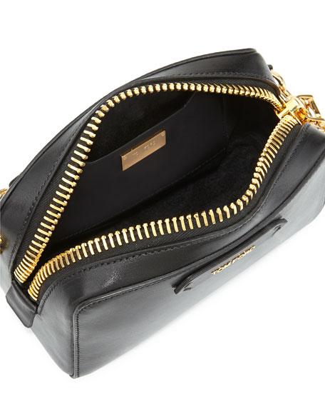 Chain-Strap Small Crossbody Bag, Black