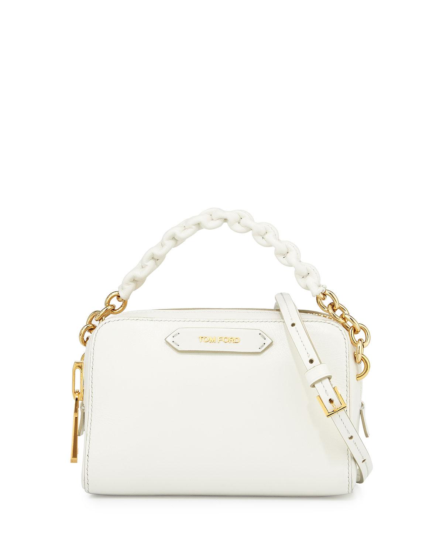 287ef405c1b TOM FORD Chain-Strap Small Crossbody Bag, White   Neiman Marcus