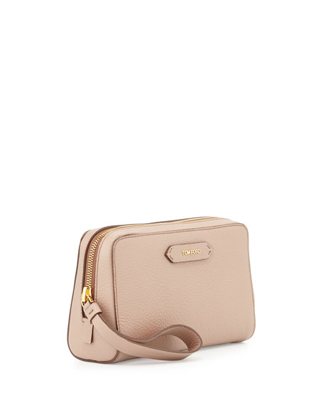 Zip-Top Calfskin Clutch Bag, Blush Nude