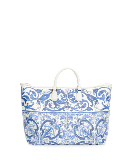 Floral-Print Shopper Bag, Blue/White