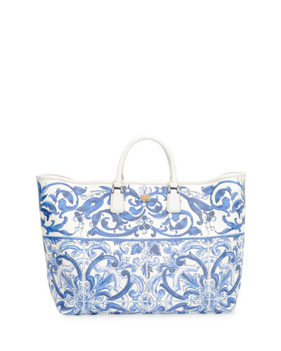 Floral-Print Shopper Bag, Blue/White