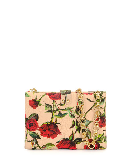 Rose Damask Clutch Bag, Red Multi