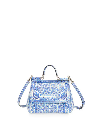 Miss Sicily Floral-Print Satchel Bag, Blue/White