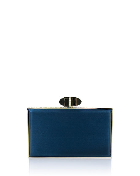 Satin Coffered Rectangle Clutch Bag, Dark Indigo