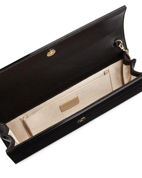 Sweetie Flap-Top Acrylic Clutch Bag, Black