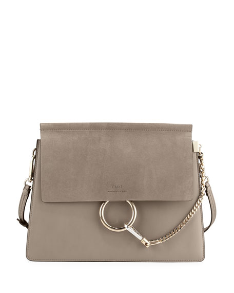 Faye Medium Flap Shoulder Bag, Gray