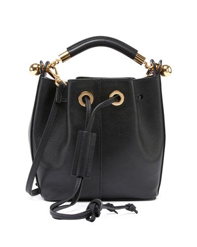 Gala Small Leather Bucket Bag, Black