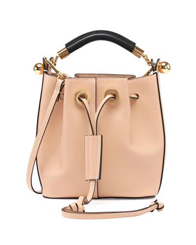 Gala Small Leather Bucket Bag, Nude