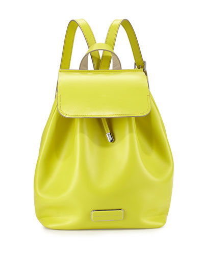 Ligero Leather Flap-Top Backpack, Yellow Zest