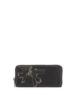 Ligero Painted Flower Clutch Bag, Black Multi