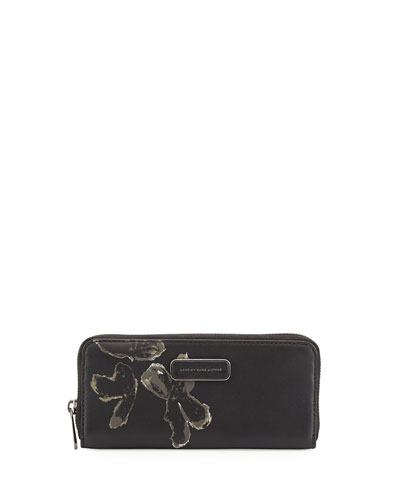 Ligero Painted Flower Clutch Bag, Black Multi