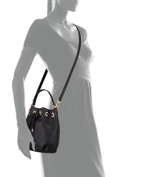 cobble hill wyatt mini bucket bag, black