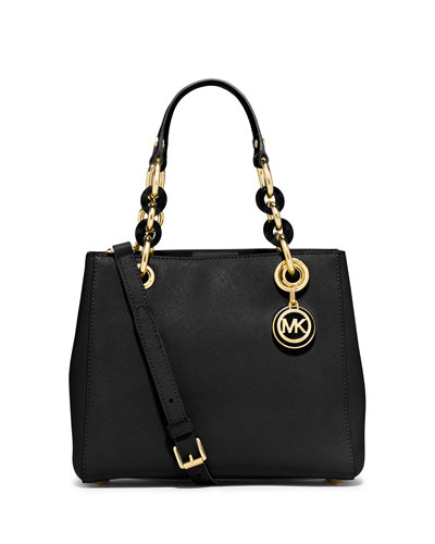 Cynthia Small Saffiano Satchel Bag, Black