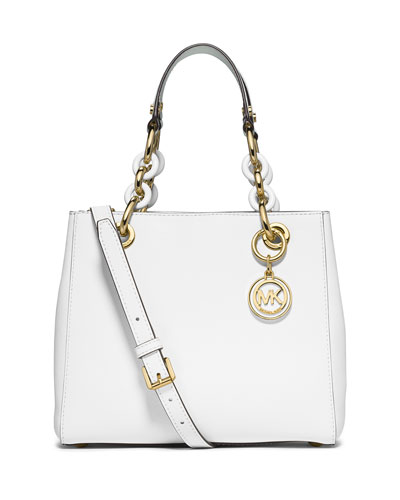 Cynthia Small Saffiano Satchel Bag, Optic White