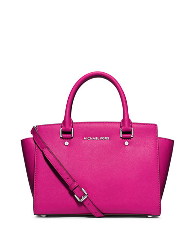 Selma Medium Top-Zip Satchel, Raspberry