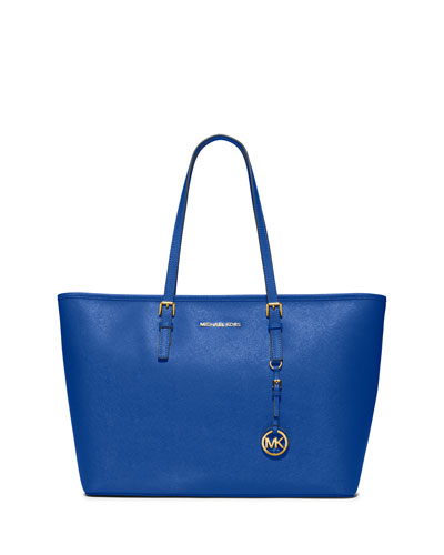 Jet Set Travel Medium Saffiano Tote Bag, Electric Blue