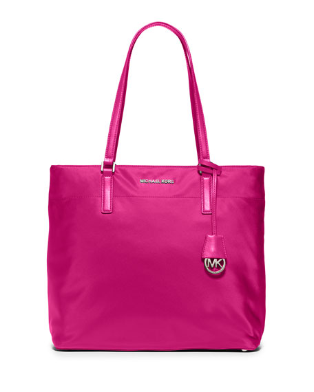 MICHAEL Michael Kors Morgan Large Nylon Tote Bag, Raspberry