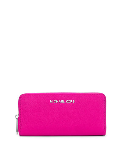 Jet Set Saffiano Continental Wallet, Raspberry