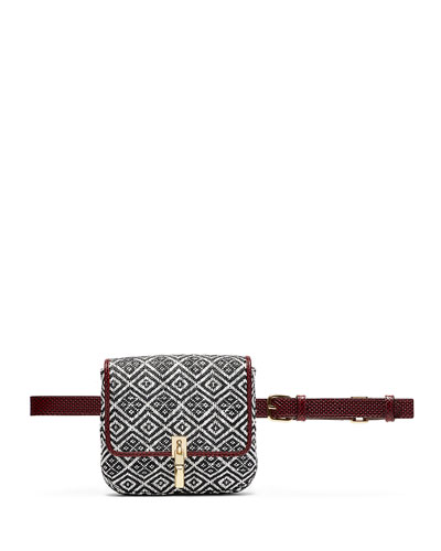 Cynnie Woven Belt Bag, Black/White