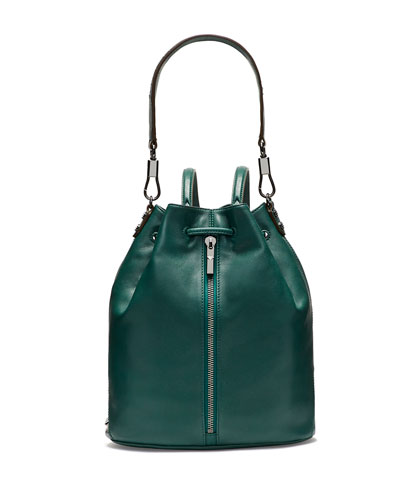 Cynnie Leather Drawstring Backpack, Canopy Green