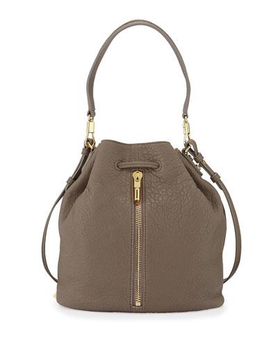 Cynnie Leather Bucket Bag, Koala