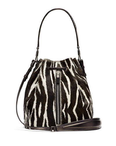 Cynnie Zebra-Print Calf Hair Bucket Bag/Backpack, Black/White