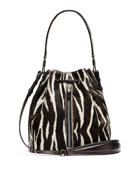 Elizabeth and James Cynnie Zebra-Print Calf Hair Bucket Bag/Backpack, Black/White