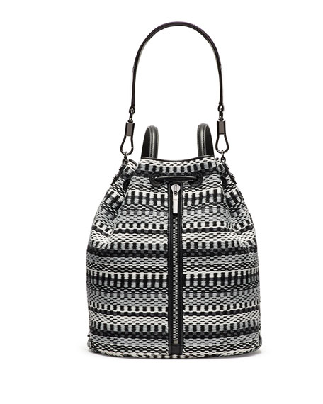Cynnie Woven Bucket Bag/Backpack, Gray Multi