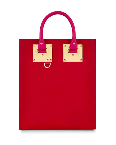 Colorblock Mini Tote Bag, Fuchsia/Red