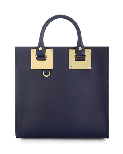 Large Square Leather Tote Bag, French Navy
