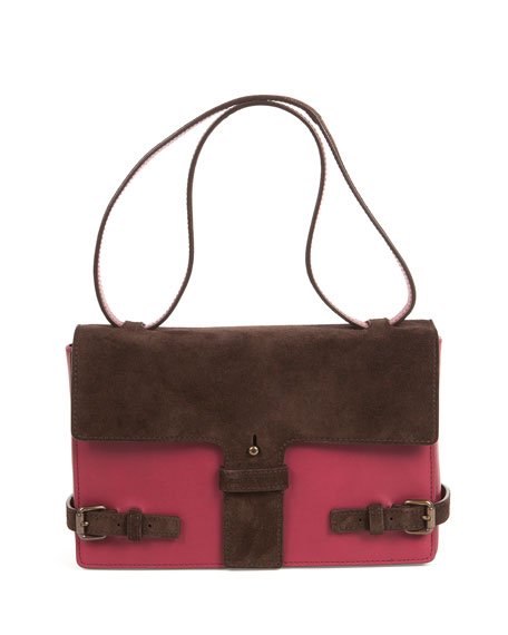 Tomas Maier Two-Tone Suede/Leather Satchel Bag, Maroon/Chocolate