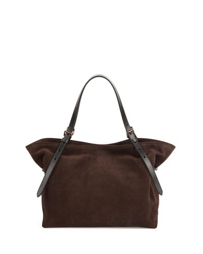 Suede/Leather Buckled Shoulder Bag, Blazer/Chocolate