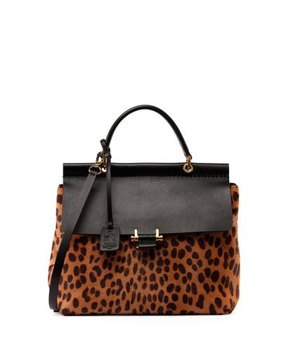 Leopard Calf Hair Flap Bag, Black/Natural