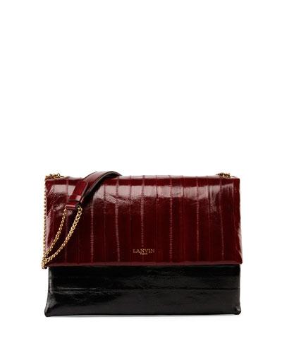 Sugar Eel Medium Shoulder Bag, Burgundy/Black