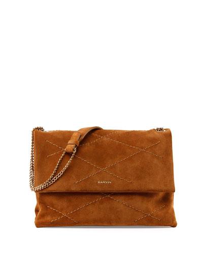 Medium Sugar Suede Shoulder Bag, Camel