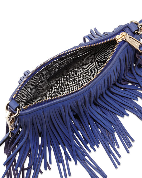 Rebecca Minkoff Finn Leather Fringe Clutch Bag, Ultraviolet