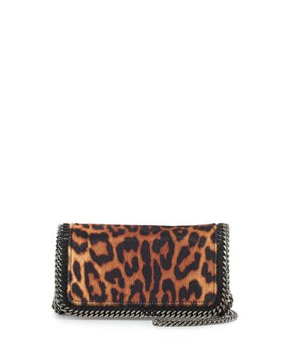 Falabella Leopard-Print Crossbody Bag, Taupe