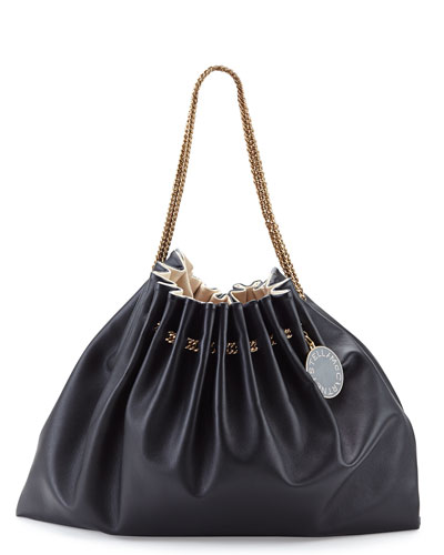 Noma Soft Chain-Strap Hobo Bag, Black