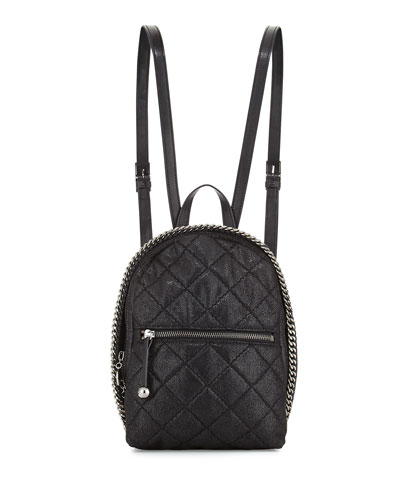 Falabella Quilted Backpack, Black
