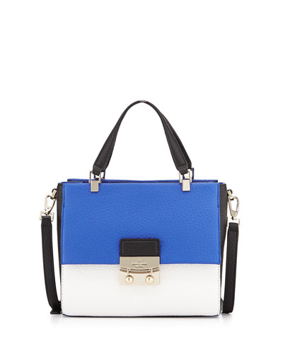 chelsea square bennett satchel bag, island/white/black