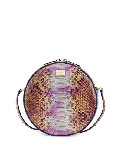 Glam Round Snake/Crocodile Crossbody Bag, Multicolor