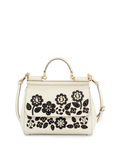 Miss Sicily Jeweled Satchel Bag, White/Black