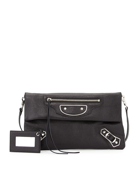 Balenciaga Metallic Edge Envelope Crossbody Bag, Black