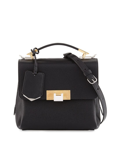 Le Dix Soft Pebbled Mini Satchel Bag, Black