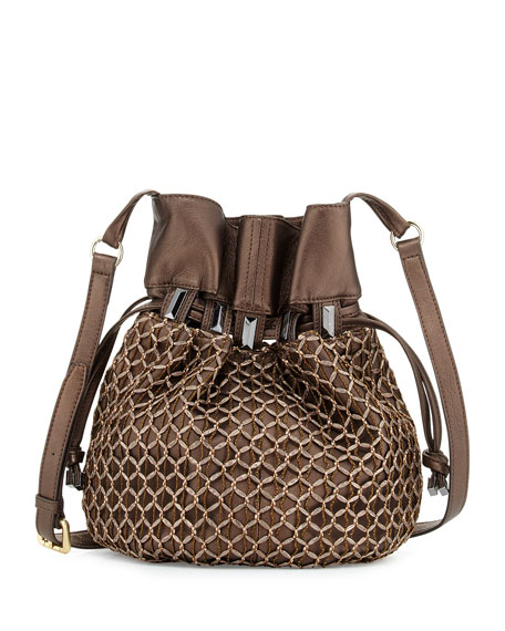 Crochet Bucket Bag : Kooba Echo Crochet-Overlay Bucket Bag, Bronze Metallic