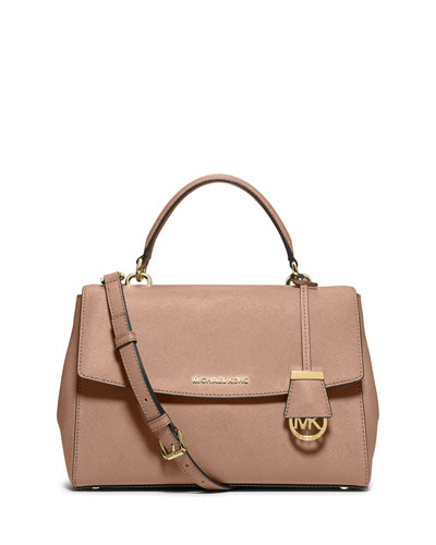 Ava Medium Saffiano Satchel Bag, Blush