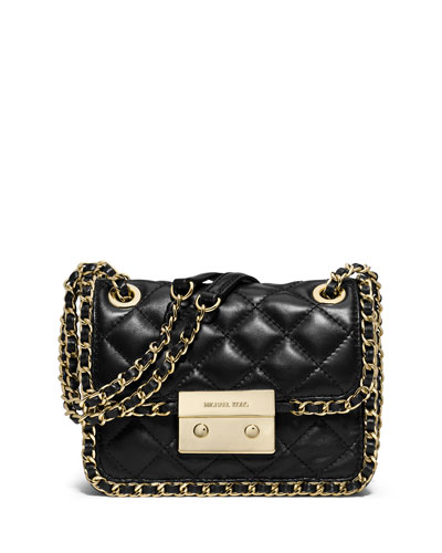 Carine Quilted Chain-Trim Shoulder Bag, Black