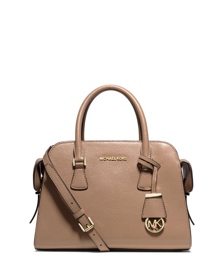Harper Medium Satchel Bag, Dark Khaki