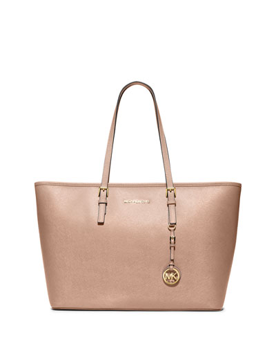 Jet Set Travel Medium Saffiano Tote Bag, Blush
